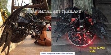 dragon lamp, wall light, scrap metal art