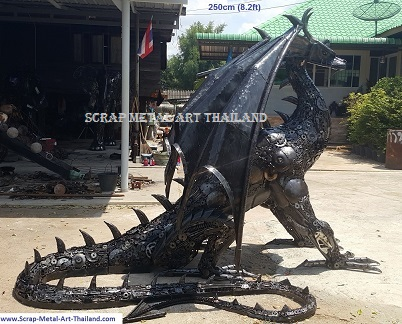 dragon statue sculpture, life size recycled metal animal art