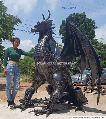 dragon statue sculpture, life size metal animal art