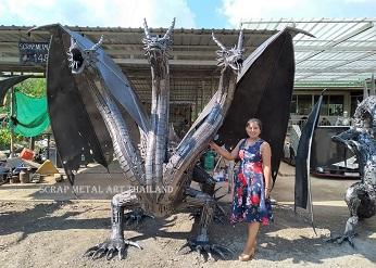 Three headed Dragon statue sculpture, life size scrap metal art from Thailand
