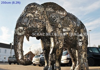 Large elephant sculpture scrap metal animal art life size