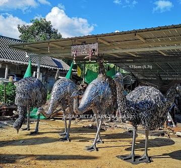 emu statue sculpture, life size scrap metal art for sale