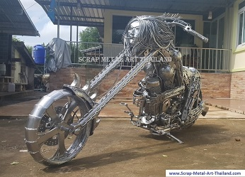 fantasy superbike lady chopper, scrap metal art, life size