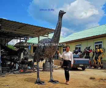 Giant Emu statue sculpture, life size scrap metal art for sale