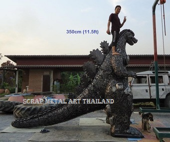Large Godzilla statue sculpture life size scrap metal art for sale