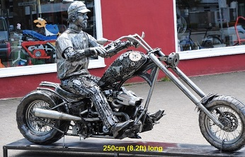 Harley Biker statue sculpture replica figure full life size, scrap metal art