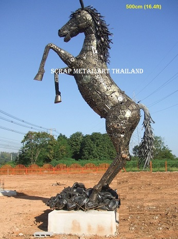 rearing horse statue, jumping horse, life size scrap metal art for sale