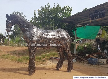 gypsy horse statue sculpture, life size scrap metal art for sale