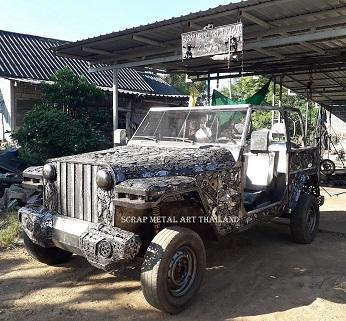 Jeep Wrangler Rubicon replica, 1/1 scale model from scrap metal, made in Thailand