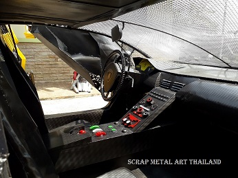 Lamborghini Veneno supercar replica from scrap metal, made in Thailand, dashboard view