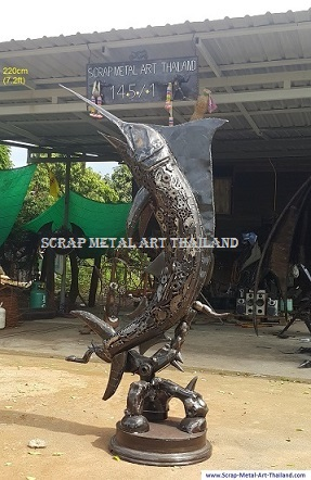 life size blue marlin sculpture, metal animal art