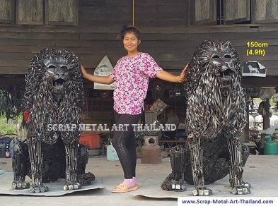 sitting lion statues, twins, life size scrap metal art
