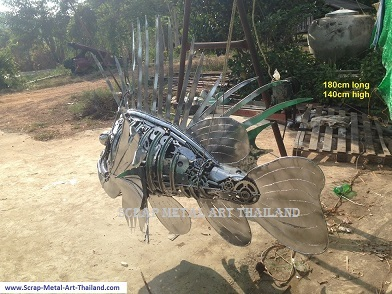lionfish sculpture life size animal metal art