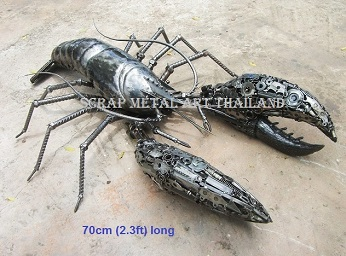 lobster sculpture scrap metal animal art life size