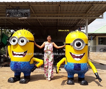 Minion statues sculptures for sale, life size recycled scrap metal art