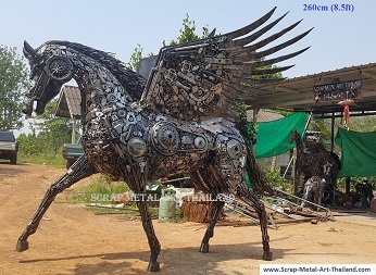 pegasus statue sculpture, life size recycled scrap metal art