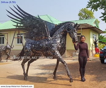 pegasus statue, life size sculpture, full size recycled scrap metal art