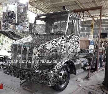 Peterbilt truck 579 replica model 2019, 70 percent scale, scrap metal art from Thailand
