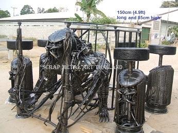 predator table, scrap metal art