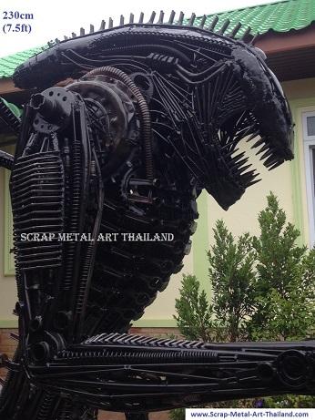 alien statue, life size, face close up