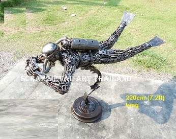 Scuba diver Statues life size scrap metal art for sale