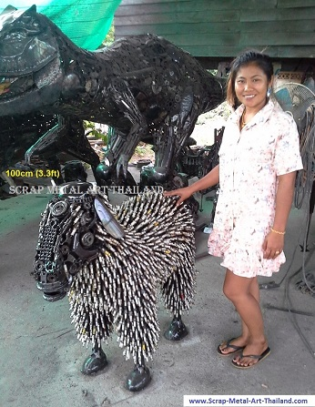 Sheep Statue Sculpture for sale, Life Size Metal Animal Yard and Garden Art, from Thailand