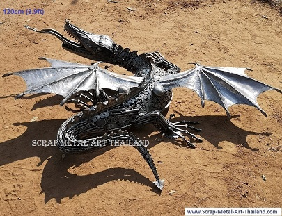 small dragon statue sculpture, life size recycled scrap metal animal art