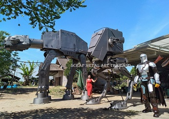 Star Wars Imperial Walker AT-AT and AT-ST statues, and Mandalorian sculpture, life size scrap metal art from Thailand