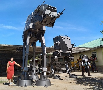 Star Wars Imperial Walkers AT-AT and AT-ST statues, and Mandalorian sculpture, life size scrap metal art from Thailand
