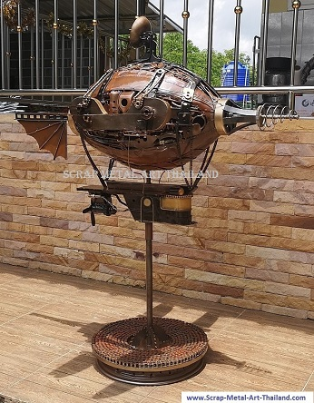 Steampunk Airship Blimp Zeppelin sculpture for sale, Metal Steampunk art