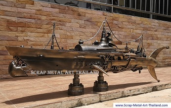 steampunk sharkship, recycled scrap metal art