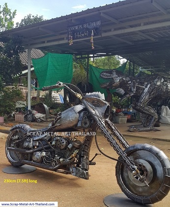 superbike statue sculpture, full life size scrap metal art