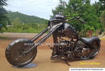 superbike statue, life size scrap metal art