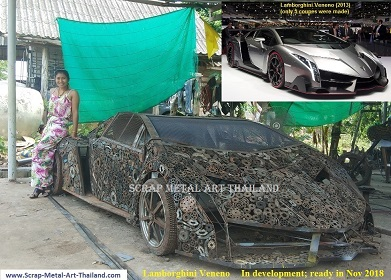 supercar from scrap metal, lamborghini veneno