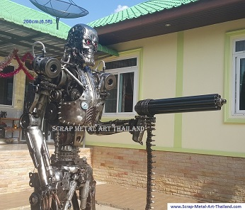 terminator endoskeleton statue sculpture life size scrap metal art for sale