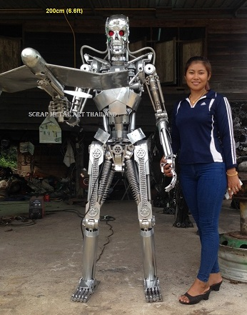 Terminator Life Size Endoskeleton Genisys Statue with handheld drone