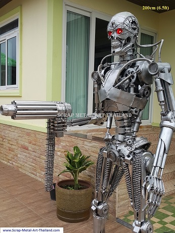 latest terminator statue sculpture genisys movie style life size scrap metal art for sale