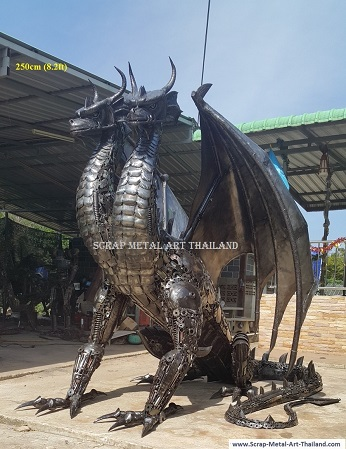 two headed dragon statue sculpture, life size recycled scrap metal animal art